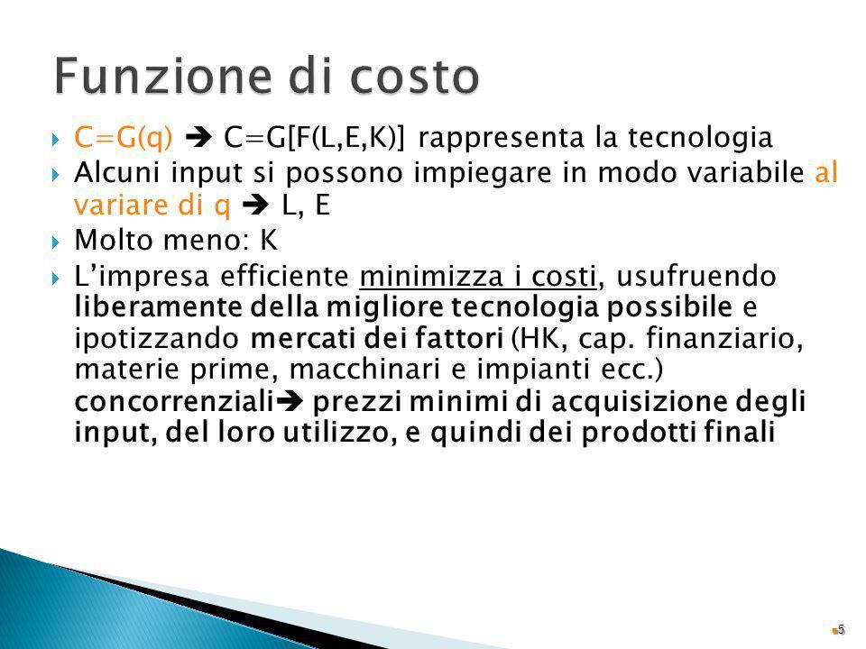 Funzione di costo C=G(q)  C=G[F(L,E,K)] rappresenta la tecnologia